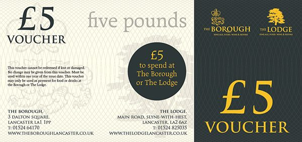 The Lodge & The Borough Gift Voucher £5